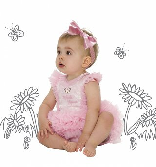Kids Disney Minnie Mouse Ruffled Pink Sparkle Tutu Costume With Headband