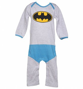 Kids Grey Marl DC Comics Batman Logo Costume Supersuit from Fabric Flavours