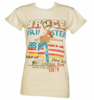 Ladies Beige Bruce Springsteen Tour Rolled Sleeve Boyfriend T-Shirt