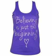 Ladies Believing is Just The Beginning Glitter Print Vest