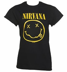 Ladies Black Nirvana Nevermind Rolled Sleeve Boyfriend T-Shirt