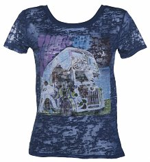 Ladies Blue Burnout The Who Magic Bus T-Shirt