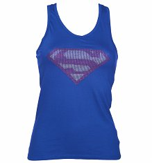 Ladies Blue Superman Studded Logo Vest