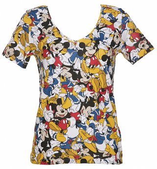 Ladies Disney Mickey Mouse And Donald Duck All Over Print V-Neck T-Shirt from Eleven Paris