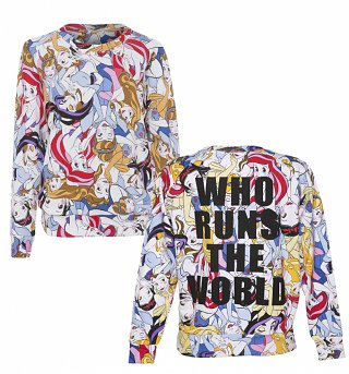 Ladies Disney Princess Runs The World All Over Print Sweater from Eleven Paris
