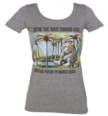 Women's Grey Marl Scoop Neck Where The Wild Things Are Book Cover T-Shirt from Out Of Print