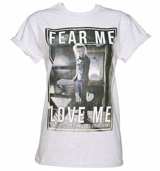 Women's Labyrinth Jareth Fear Me Love Me Rolled Sleeve Boyfriend T-Shirt