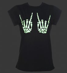 Women's Skeleton Hands Glow In The Dark Rolled Sleeve T-Shirt