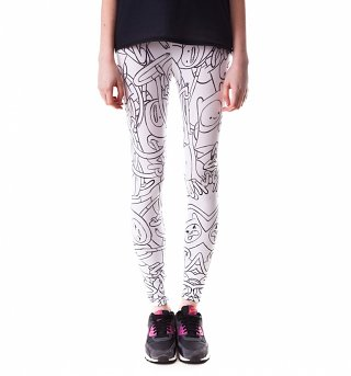 Women's White And Black All Over Print Adventure Time Leggings from Mr Gugu & Miss Go