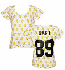 Women's White Bart Simpson 89 All Over Print T-Shirt from Eleven Paris
