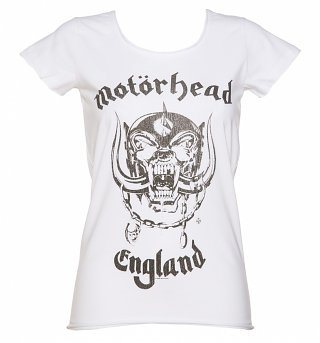 Ladies White Motorhead England T-Shirt from Amplified