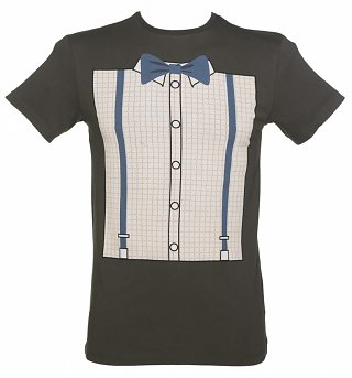 Men's Charcoal Doctor Who Shirt Tie And Braces T-Shirt from BBC Worldwide