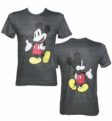 Men's Dark Grey Marl Mickey Mouse Front And Back Print Disney T-Shirt from Eleven Paris