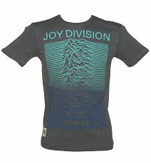 Men's Grey Marl Joy Division Unknown Pleasures Blue Gradient T-Shirt from Worn By