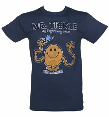 Men's Navy Mr Tickle Mr Men Heavyweight T-Shirt