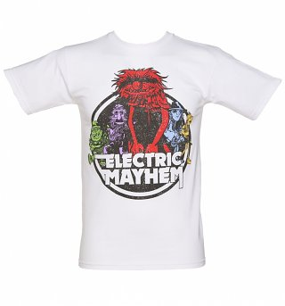 Men's White Electric Mayhem Muppets T-Shirt
