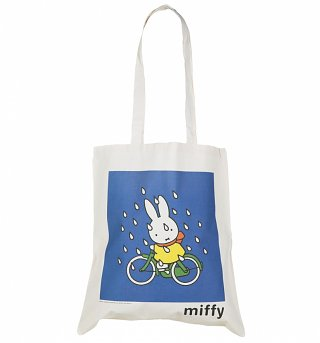 Miffy Cycling In The Rain Canvas Tote Bag