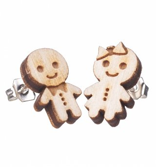 Mini Gingerbread Girl And Boy Stud Earrings from Punky Pins