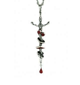 White Gold Plated Alice In Wonderland Sword Necklace from Disney Couture