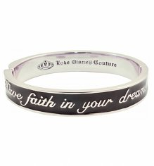 Platinum Plated Black Enamel Have Faith In Your Dreams Cinderella Bangle from Disney Couture