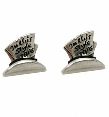 White Gold Plated Mad Hatter Top Hat Stud Earrings from Disney Couture