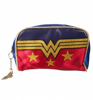 Retro Wonder Woman Satin Wash Bag With Glitter Print