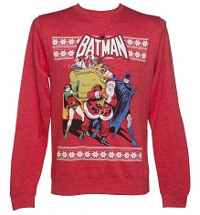 Unisex Red Marl DC Comics Batman And Robin Christmas Sweater