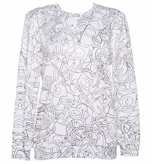 Unisex White Adventure Time Finn All Over Print Sweater from Mr Gugu & Miss Go