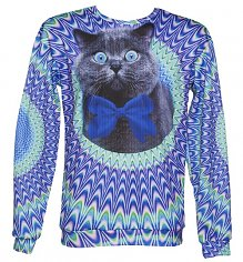 Unisex Psychedelic Crazy Cat Jumper from Mr Gugu & Miss Go